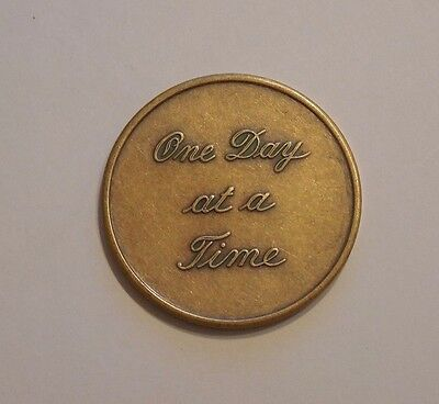 AA One Day At A Time Script alcoholics anonymous Sobriety Chip Token Medallion