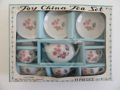 Vintage Toy China Tea Set 11 piece Party Dishes Cups Kettle NOS Japan Napco ATQ