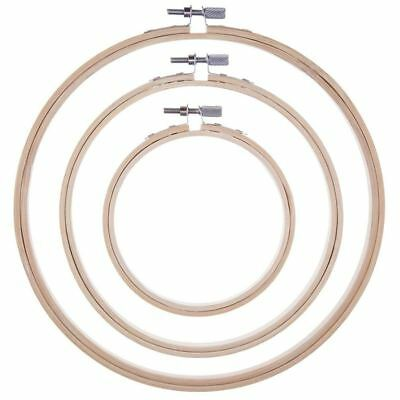 3 Pieces Embroidery Hoops Bamboo Circle Cross Stitch Hoop Ring Set for Art X8P8