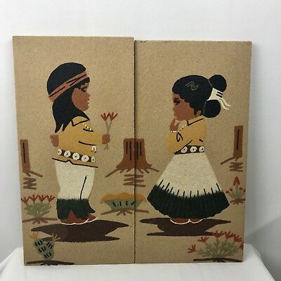 Vtg Sand Painting Set Of  2 Navajo Boy And Girl. Signed 1979 Titled Friendship