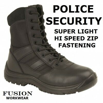 Police Boots,Super Light Comfort,Black Leather,Lace And Zip,Security,Uniform,Nhs