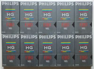 10 Video-Kassetten PHILIPS VHS High Grade E 180 min. Leer & OVP NEU in Folie