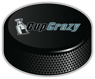 Stanley Cup Crazy NHL Logo Hockey Puck Car Bumper Sticker Decal-9'',12'' or 14''