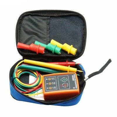 New 3 Phase Sequence Rotation Tester Indicator Detector Meter LED Buzzer wi J3F1