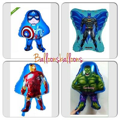 Hulk Captain America Batman Ironman Balloons Marvel Avengers Party Superhero X4