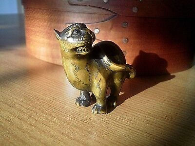 Opuszczony domek Hand-Carved-wood-Netsuke-Panther-cat-collectable-boxwood