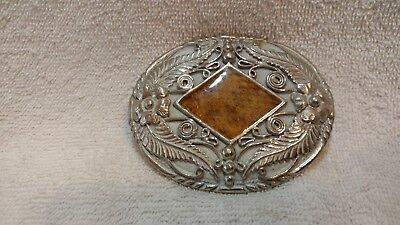 Vintage Heavy Hand Crafted SSI Buckle Brown Center Stone Silver Engraving