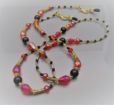 Spectacle Sunglasses Eyewear Beaded Chain  Black Agate, Red & Gold S116