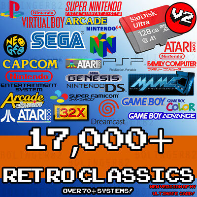 128 GB Retropie 3B+ & 3B SD Card - ULTIMATE Collection V2! 70+ Systems, Videos!