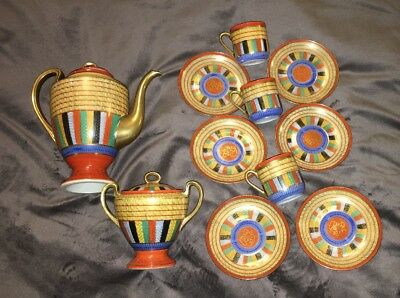 Vtg Hand Painted Thousand 1000 Faces Tea Set Made In Japan Demitasse +extras!