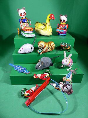 11x Made in China  - TinToy - Blechspielzeug mechanisch - vintage Lot