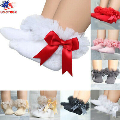 Toddler Kids Baby Girls Tulle TUTU Frilly Bow  Ankle Socks Party Princess Socks