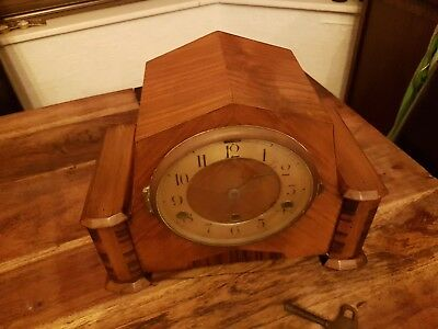 English Inlaid   Antique Mantel  Clock . spares or repair
