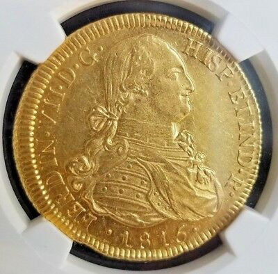 1815-SO FJ CHILE GOLD 8 Escudos! Graded: NGC MS 62!