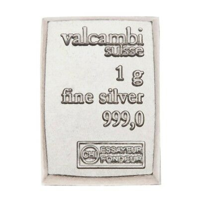 Valcambi Silver 1 Gram .999 Fine Silver - Suisse Bar - Free Shipping!