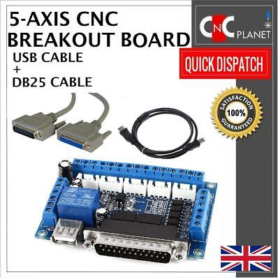 Mach3 Interface CNC 5 Axis motion Controller Breakout Board Router Mill Plasma