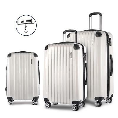 White 3pc Luggage Suitcase Set TSA Travel Carry Bag Hard Case Lightweight