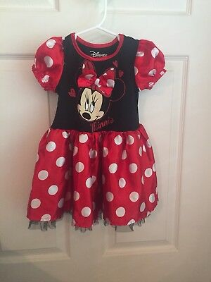 Disney Minnie Mouse Costume Size 3T Black Red White Polka Dot
