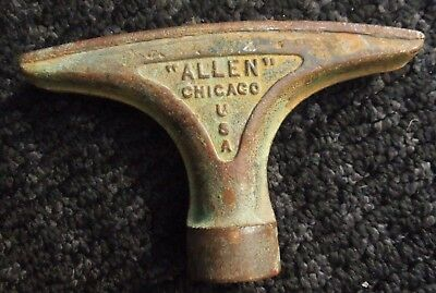 "Vintage ""allen"" Cast Brass Garden Hose Nozzle Chicago Illinois Nice Patina !!"