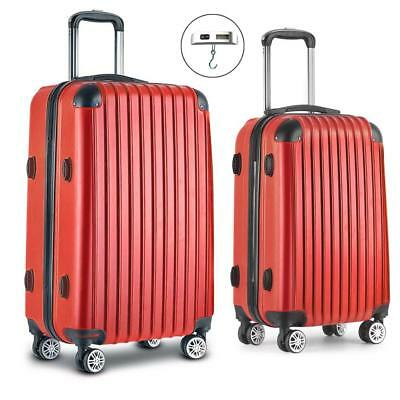 Red 2pc Luggage Suitcase Set TSA Travel Carry Bag Hard Case Lightweight