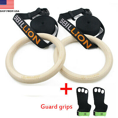 5Billion Wooden Gymnastic Rings Professional Fitness Strength Workout Rings 32mm