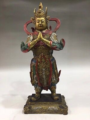 """13"""" Chinese Antique Old copper painted Buddha statue Home Decoration"""