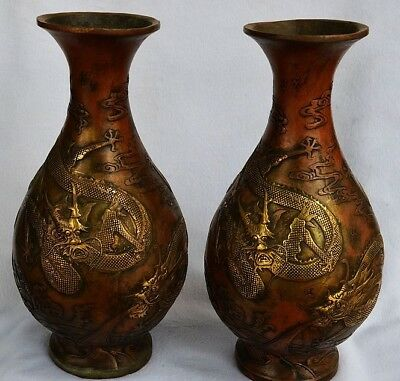 China Old Antique Gold plated copper double dragon vase Pair Qianlong Year