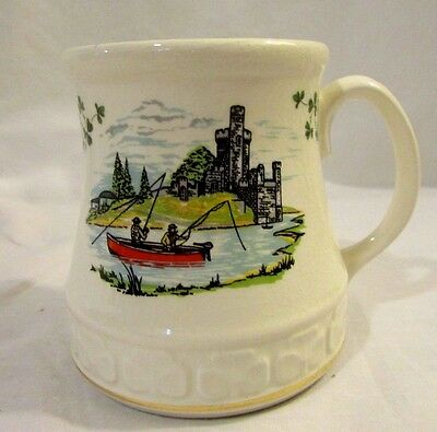 Carrigaline Pottery Co. LTD Large Coffee Mug Cork, Ireland Fishermen in Boat