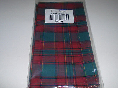 "Longaberger NAPKINS. (Set of 2), ""EVERGREEN PLAID"" Fabric, NEW!!!"