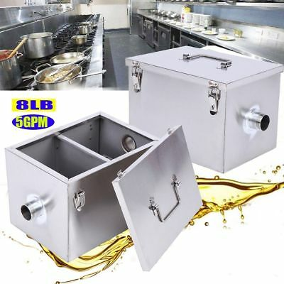 Commercial 5GPM Gallons Per Minute Grease Trap Stainless Steel Interceptor 8LB