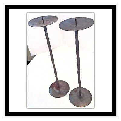 Set Of Two Rustic Metal Candle Holders Twisted Stem Design