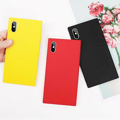 Colorful Soft TPU Square Phone Case Candy Color For iPhone 8 7 6 6s Plus X