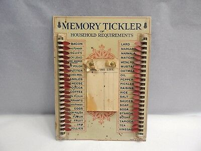 Antique Memory Tickler of Household Requirements Tin Sign - 1930s Vintage Metal