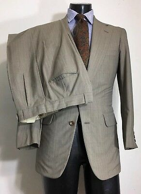 Paul Stuart Wool Brown Suit Men's Size 38 R Made In USA