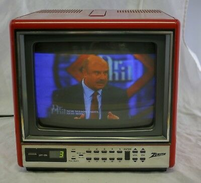 """Vtg 80s Zenith Cute Red Portable Small 9"""" CRT Color Retro Gaming TV"""