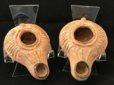 Ancient Oil Lamp Pair ; Byzantine - Islamic - Holy Land 300 - 500 A.d. Scarce