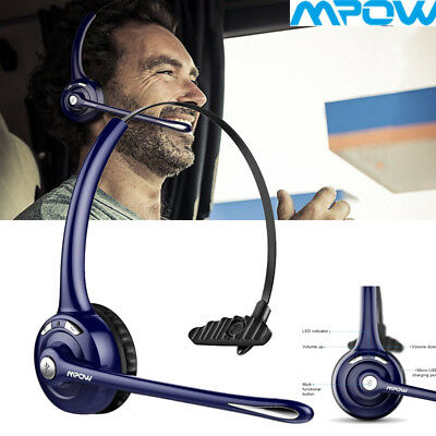 MPOW Over The Head Wireless Bluetooth Headset Mic Noise-Canceling Trucker Driver