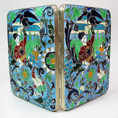 Rare Antique Russian 84 Silver Enamel Cigarette Case Falconry