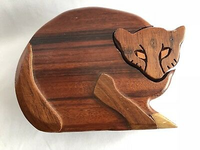 Wood Cat Puzzle Jewelry Box - Hidden Compartments