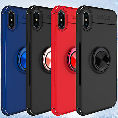 For iPhone Xs Max/Plus Shockproof Hybrid Ring Holder Kickstand Armor Case Cover