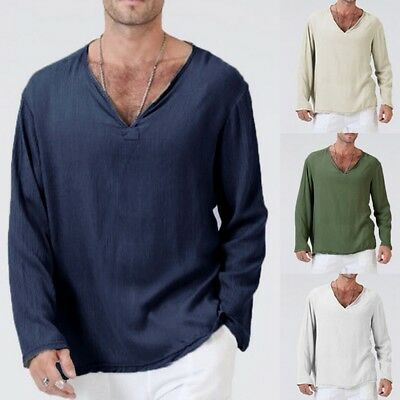 Men's Summer T-Shirt Cotton Linen Thai Hippie Shirt V-Neck Beach Yoga Top Blouse