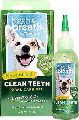 TROPICLEAN Fresh Breath Clean Teeth Gel 4 oz Dog Canine Cats Bad Breath