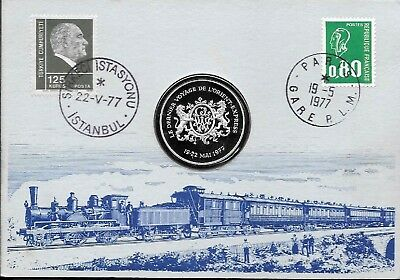 1977  Joint Issue Turkey/France Last Run Of Orient Express Silver Medal In Cover