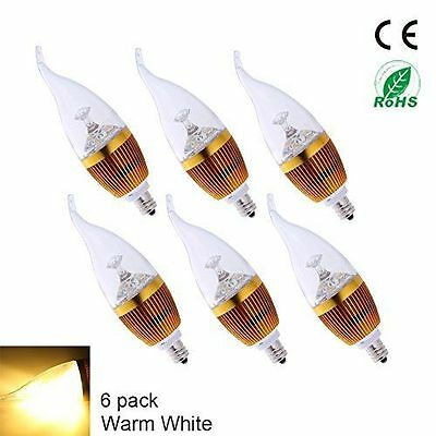6Pack E12 3W LED Candelabra Bulbs Warm White 3000K Replace 25W  LED Candle Light
