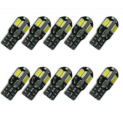 (10) Canbus Error Free T10 White 8 5730 SMD LED Car Side Wedge Light Lamp Bulbs
