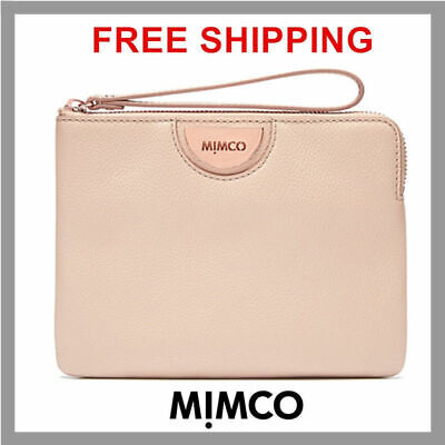 Mimco Echo Pancake Rose Gold Medium Pouch Wallet Cow Leather Rrp99.95 Bnwt Df