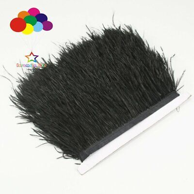 Black 1/5/10 Meter Ostrich Feather Cloth Trims 3.15-6 Inch/8-15 Cm Carnival Diy