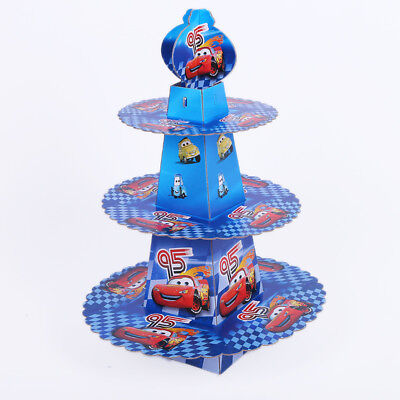 3 layer Cars McQueen Cake Cupcake Dessert Stand Kids Birthday Party Decorations