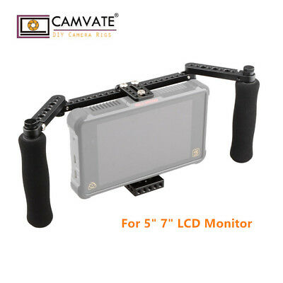 CAMVATE DSLR Camera Monitor Cage Kit W/Adjustable Foam Handles for 5'' 7''