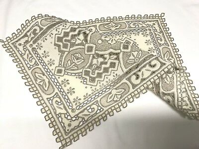 Antique Vintage Hand Embroidered Cream Linen Silver Taupe Table Centre Cloth